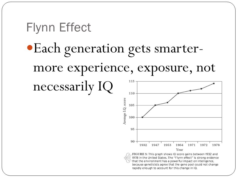 Flynn Effect Each generation gets smarter- more experience, exposure, not necessarily IQ