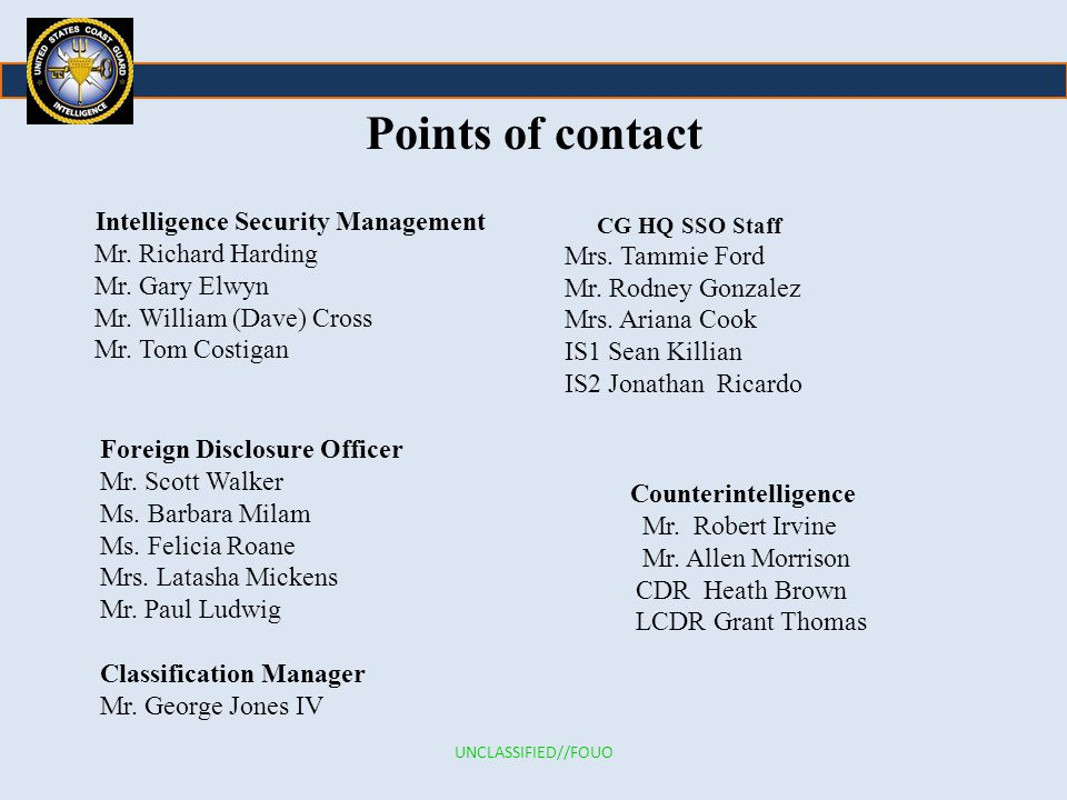 Points of contact Intelligence Security Management Mr.