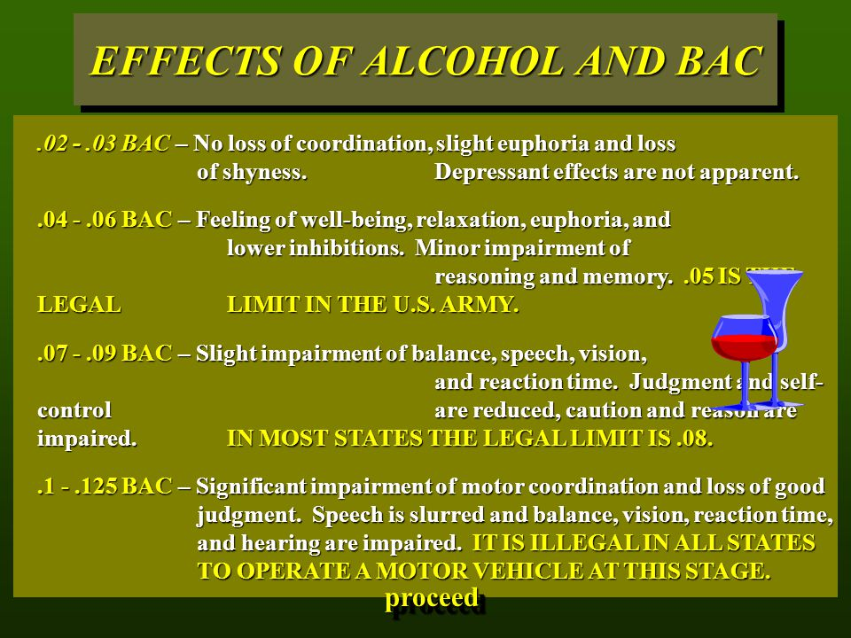 EFFECTS OF ALCOHOL AND BAC.02 -.03 BAC – No loss of coordination, slight euphoria and loss of shyness. Depressant effects are not apparent..04 -.06 BA