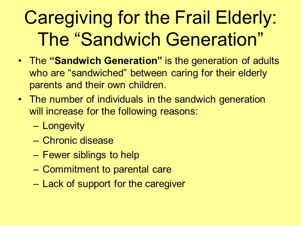 Caregiving for the Frail Elderly: The Sandwich Generation The Sandwich Generation is the generation of adults who are sandwiched between caring for their elderly parents and their own children.