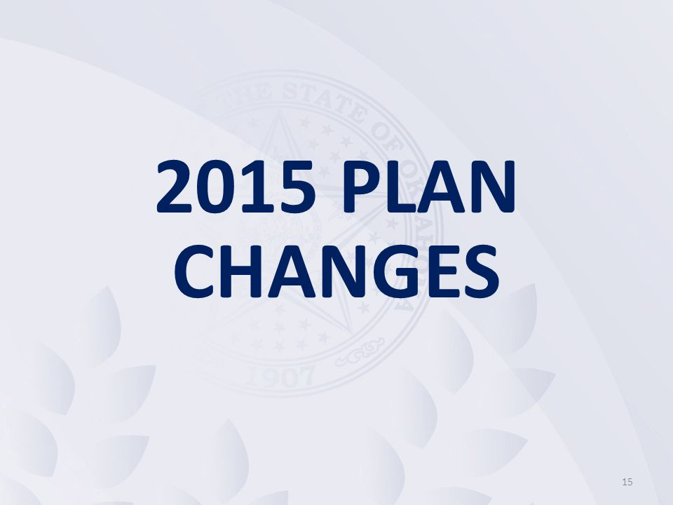 15 2015 PLAN CHANGES