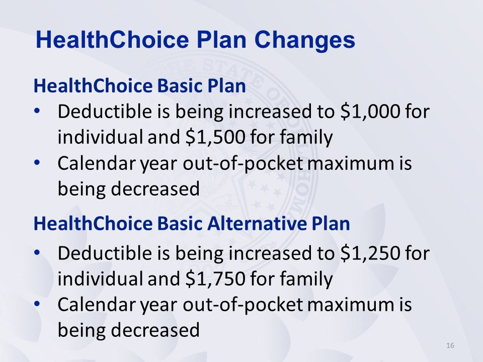 HealthChoice Basic Plan Deductible is being increased to $1,000 for individual and $1,500 for family Calendar year out-of-pocket maximum is being decreased HealthChoice Basic Alternative Plan Deductible is being increased to $1,250 for individual and $1,750 for family Calendar year out-of-pocket maximum is being decreased 16 HealthChoice Plan Changes