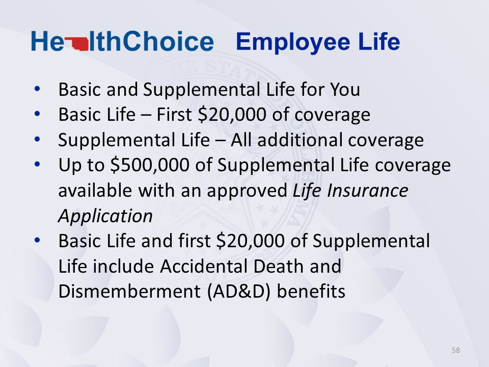 Basic and Supplemental Life for You Basic Life – First $20,000 of coverage Supplemental Life – All additional coverage Up to $500,000 of Supplemental Life coverage available with an approved Life Insurance Application Basic Life and first $20,000 of Supplemental Life include Accidental Death and Dismemberment (AD&D) benefits 58 Employee Life