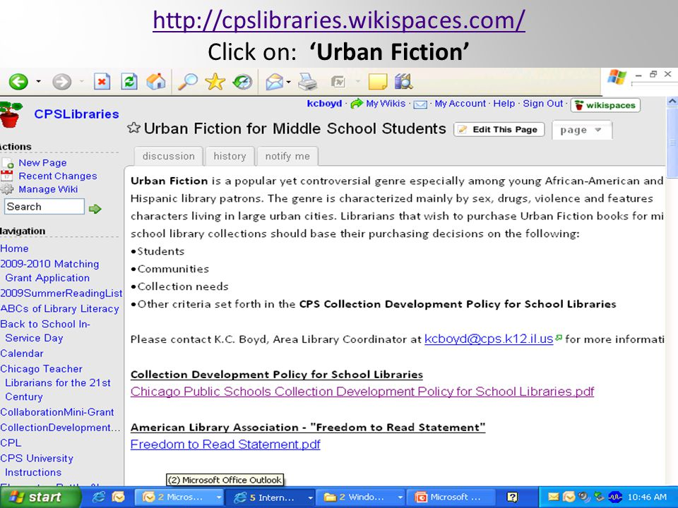 http://cpslibraries.wikispaces.com/ Click on: 'Urban Fiction'