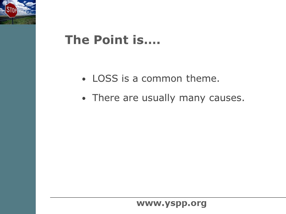 LOSS is a common theme. There are usually many causes. The Point is…. www.yspp.org