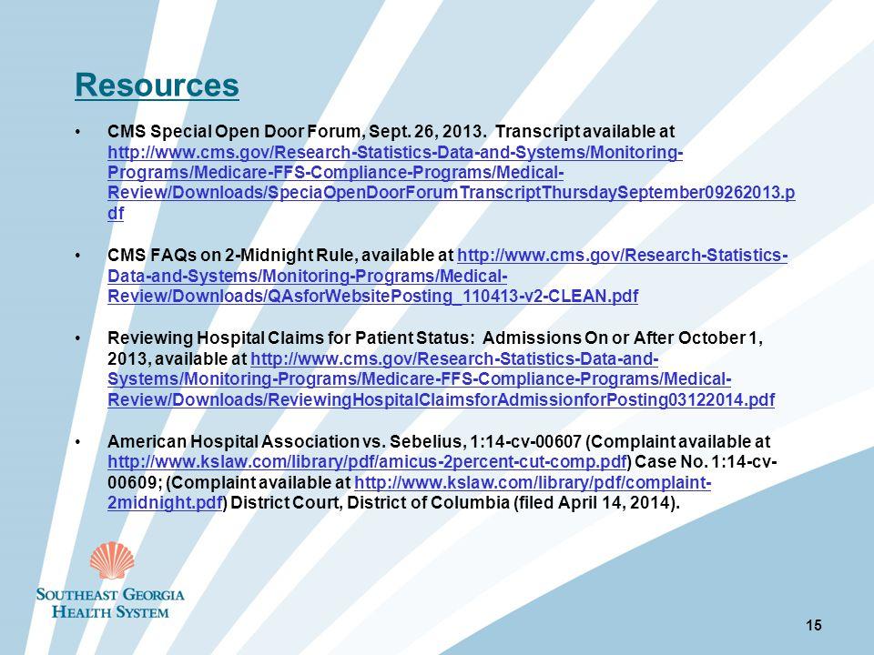 Resources CMS Special Open Door Forum, Sept. 26, 2013.