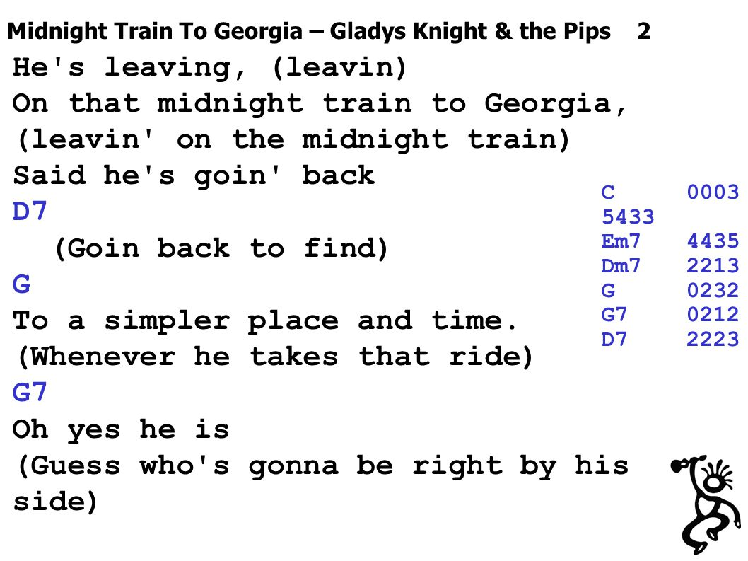 Midnight Train To Georgia – Gladys Knight & the Pips 2 He's leaving, (leavin) On that midnight train to Georgia, (leavin' on the midnight train) Said