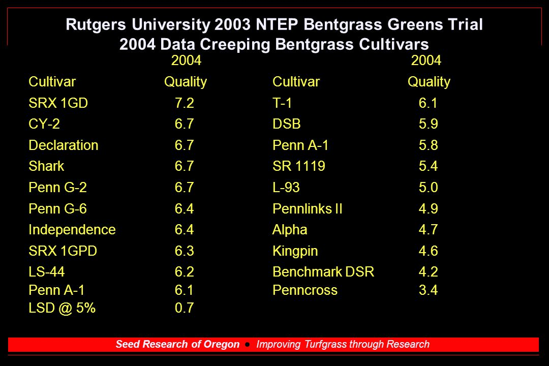 Seed Research of Oregon Improving Turfgrass through Research Rutgers University 2003 NTEP Bentgrass Greens Trial 2004 Data Creeping Bentgrass Cultivars 2004 2004 Cultivar Quality SRX 1GD 7.2 T-16.1 CY-26.7 DSB 5.9 Declaration6.7 Penn A-1 5.8 Shark6.7 SR 1119 5.4 Penn G-26.7 L-93 5.0 Penn G-66.4 Pennlinks II 4.9 Independence6.4 Alpha 4.7 SRX 1GPD6.3 Kingpin4.6 LS-44 6.2Benchmark DSR4.2 Penn A-1 6.1 Penncross3.4 LSD @ 5%0.7