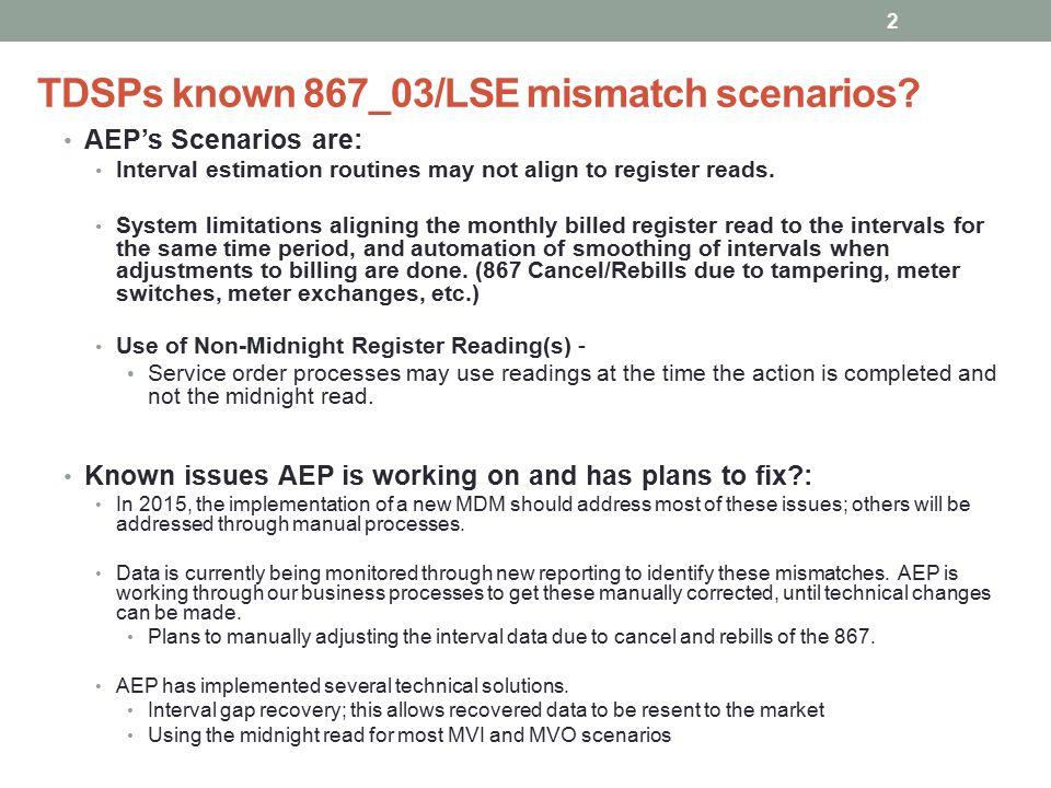 TDSPs known 867_03/LSE mismatch scenarios.