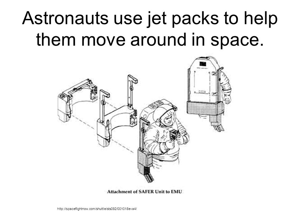 Astronauts use jet packs to help them move around in space.