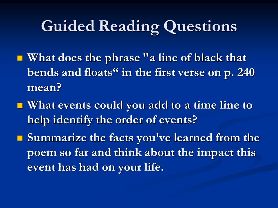 Guided Reading Questions How do you think Paul Revere is feeling at this point in the poem.