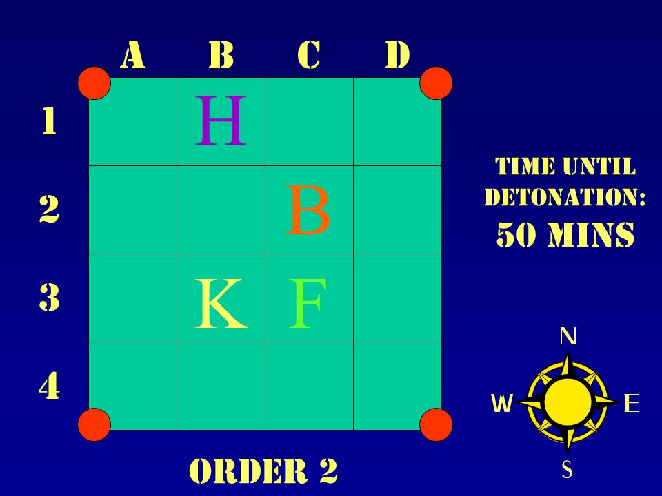 ABCD 1 2 3 4 Time until Detonation: 50 mins B FK H Order 2