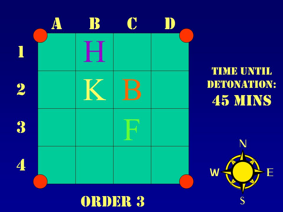 ABCD 1 2 3 4 Time until Detonation: 45 mins B F K H Order 3