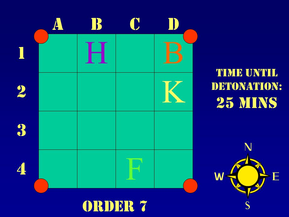 ABCD 1 2 3 4 Time until Detonation: 25 mins B F K H Order 7