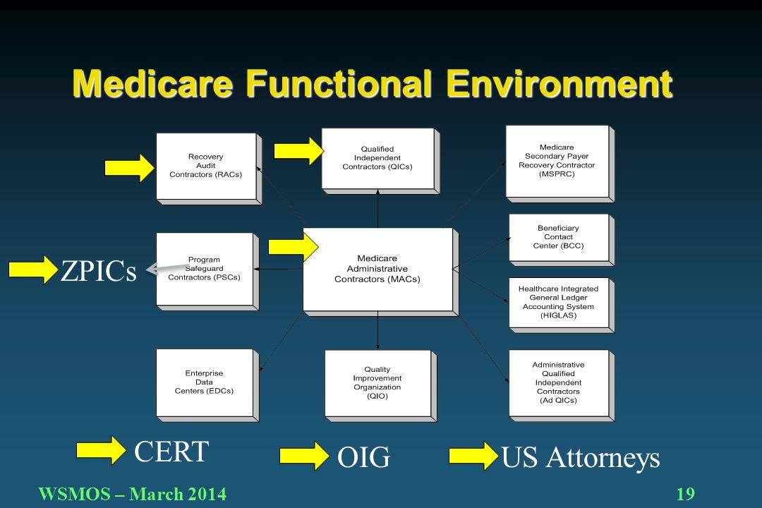 19WSMOS – March 2014 Medicare Functional Environment ZPICs OIG CERT US Attorneys
