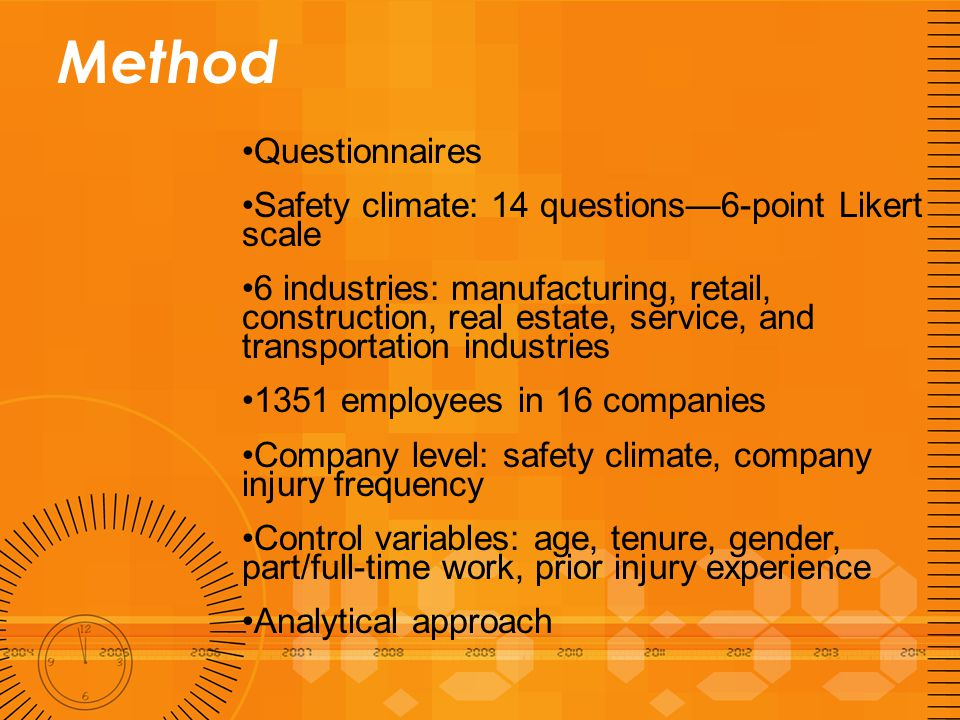 Method Questionnaires Safety climate: 14 questions—6-point Likert scale 6 industries: manufacturing, retail, construction, real estate, service, and transportation industries 1351 employees in 16 companies Company level: safety climate, company injury frequency Control variables: age, tenure, gender, part/full-time work, prior injury experience Analytical approach