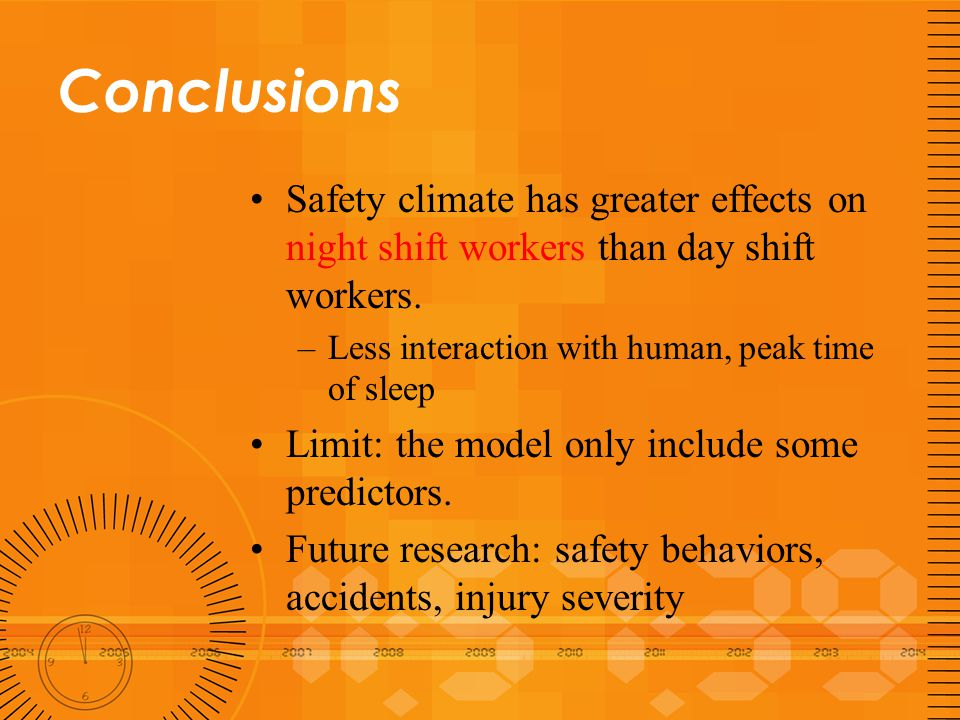 Conclusions Safety climate has greater effects on night shift workers than day shift workers. –Less interaction with human, peak time of sleep Limit: