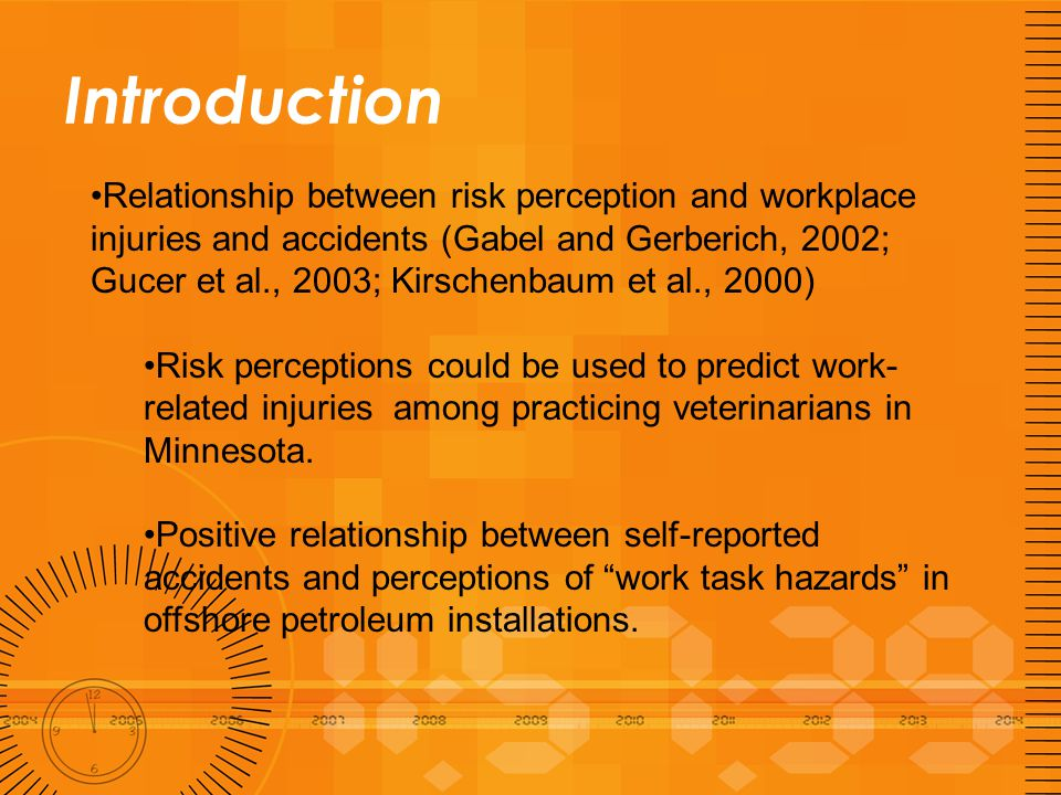 Introduction Relationship between risk perception and workplace injuries and accidents (Gabel and Gerberich, 2002; Gucer et al., 2003; Kirschenbaum et al., 2000) Risk perceptions could be used to predict work- related injuries among practicing veterinarians in Minnesota.