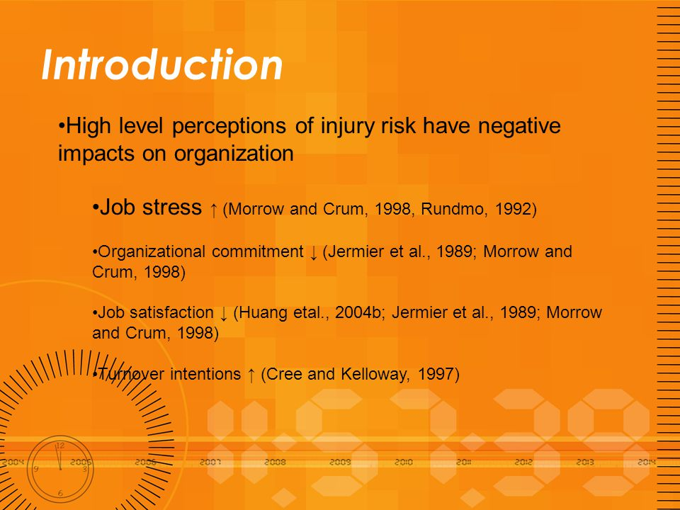 Introduction High level perceptions of injury risk have negative impacts on organization Job stress ↑ (Morrow and Crum, 1998, Rundmo, 1992) Organizati