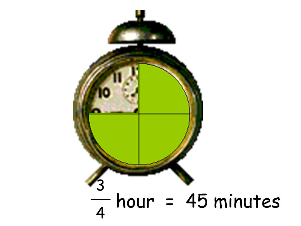 3 4 hour = 45 minutes