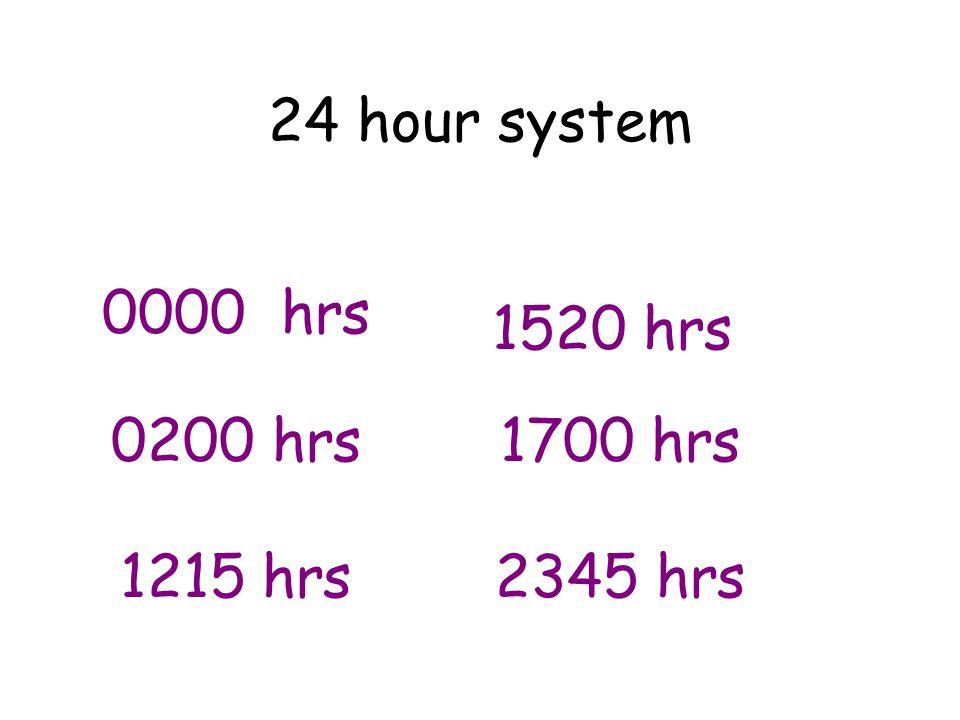 24 hour system 0000 hrs 0200 hrs 1215 hrs 1520 hrs 1700 hrs 2345 hrs