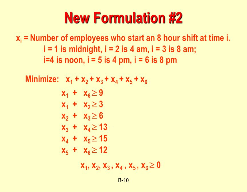 B-10 New Formulation #2 Minimize: x 1 + x 2 + x 3 + x 4 + x 5 + x 6 x 1 + x 6  9 x 1, x 2, x 3, x 4, x 5, x 6  0 x i = Number of employees who start an 8 hour shift at time i.
