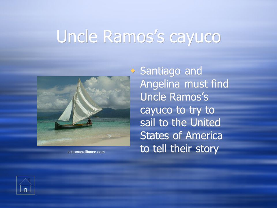 Uncle Ramos's cayuco  Santiago and Angelina must find Uncle Ramos's cayuco to try to sail to the United States of America to tell their story schoone