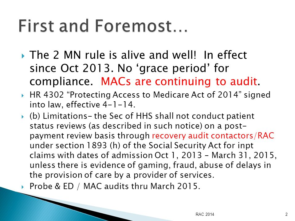  Ensure the attending/provider directing care receiving the 2 nd opinion carries the recommendation into the record and directs care from the recommendation  Auditing of the primary provider' s documentation should include: Clearly outlining the severity of illness in the admit note/order PLUS nursing documenting to the Intensity of services that must be done as an inpt.
