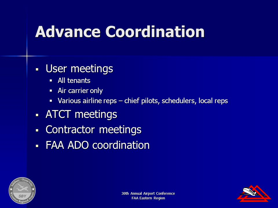 30th Annual Airport Conference FAA Eastern Region Advance Coordination  User meetings  All tenants  Air carrier only  Various airline reps – chief pilots, schedulers, local reps  ATCT meetings  Contractor meetings  FAA ADO coordination