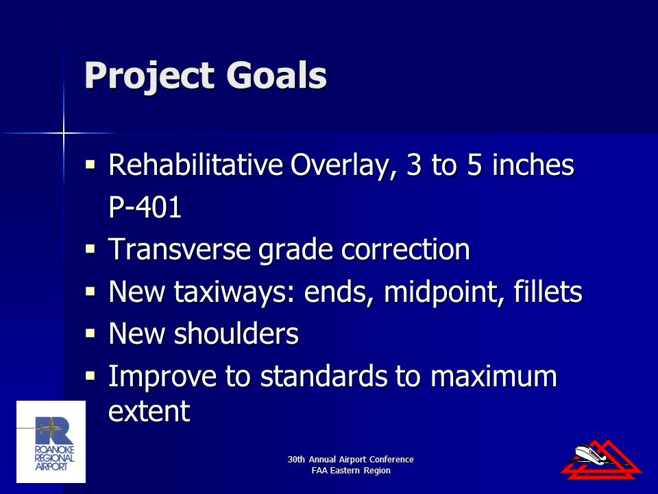 30th Annual Airport Conference FAA Eastern Region Project Goals  Rehabilitative Overlay, 3 to 5 inches P-401  Transverse grade correction  New taxiways: ends, midpoint, fillets  New shoulders  Improve to standards to maximum extent