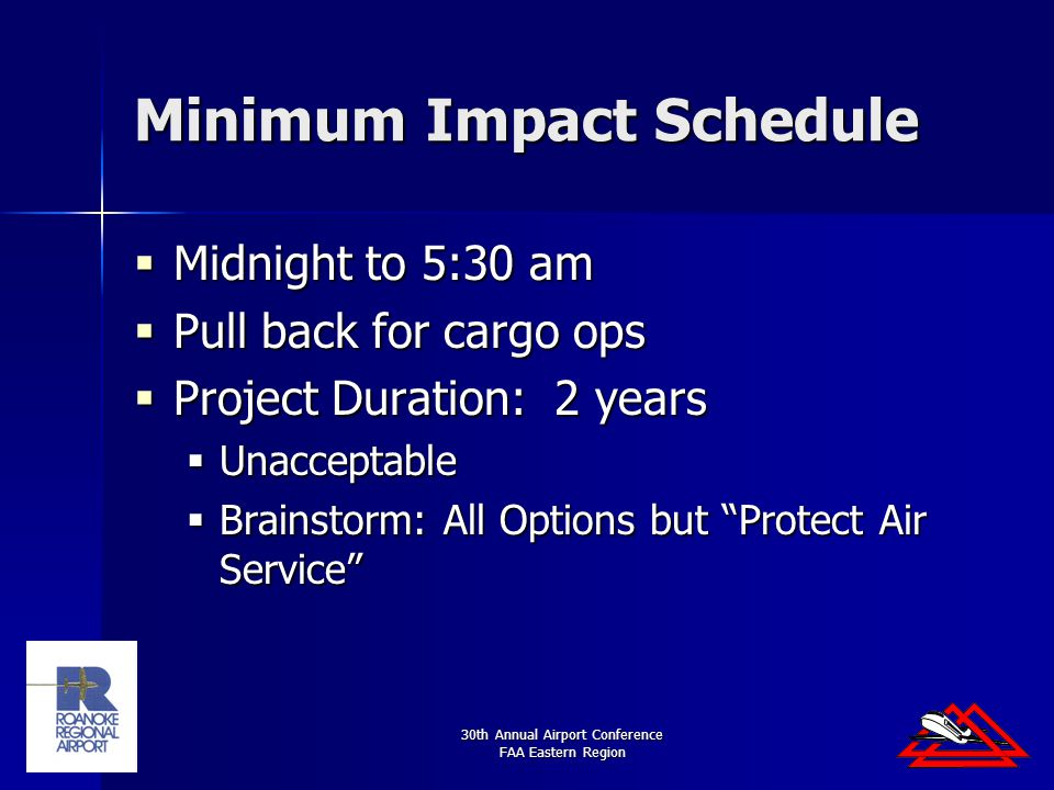 30th Annual Airport Conference FAA Eastern Region Minimum Impact Schedule  Midnight to 5:30 am  Pull back for cargo ops  Project Duration: 2 years  Unacceptable  Brainstorm: All Options but Protect Air Service