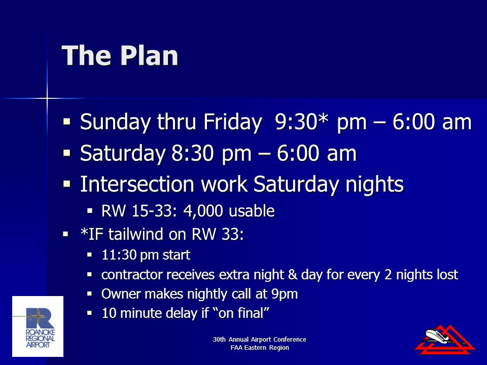 30th Annual Airport Conference FAA Eastern Region The Plan  Sunday thru Friday 9:30* pm – 6:00 am  Saturday 8:30 pm – 6:00 am  Intersection work Saturday nights  RW 15-33: 4,000 usable  *IF tailwind on RW 33:  11:30 pm start  contractor receives extra night & day for every 2 nights lost  Owner makes nightly call at 9pm  10 minute delay if on final