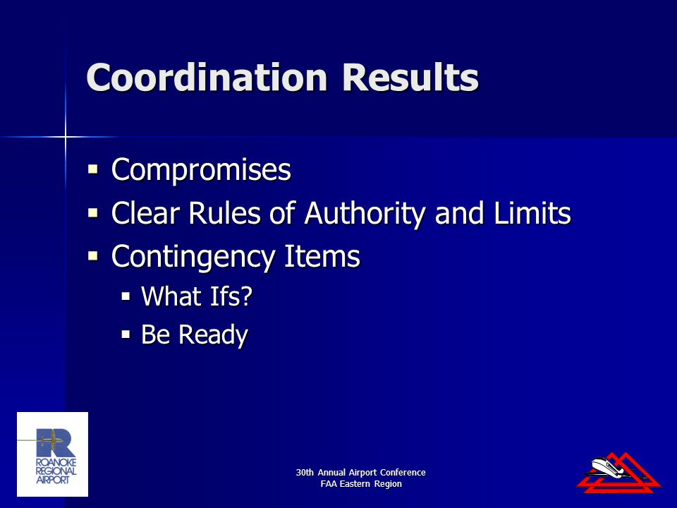 30th Annual Airport Conference FAA Eastern Region Coordination Results  Compromises  Clear Rules of Authority and Limits  Contingency Items  What Ifs.