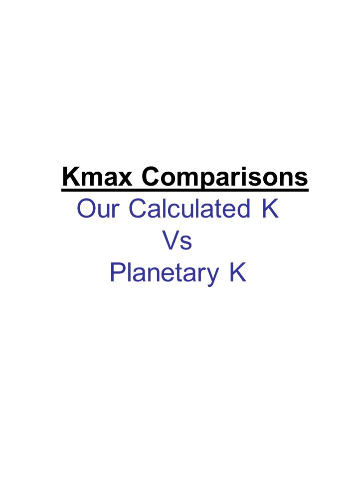 Kmax Comparisons Our Calculated K Vs Planetary K