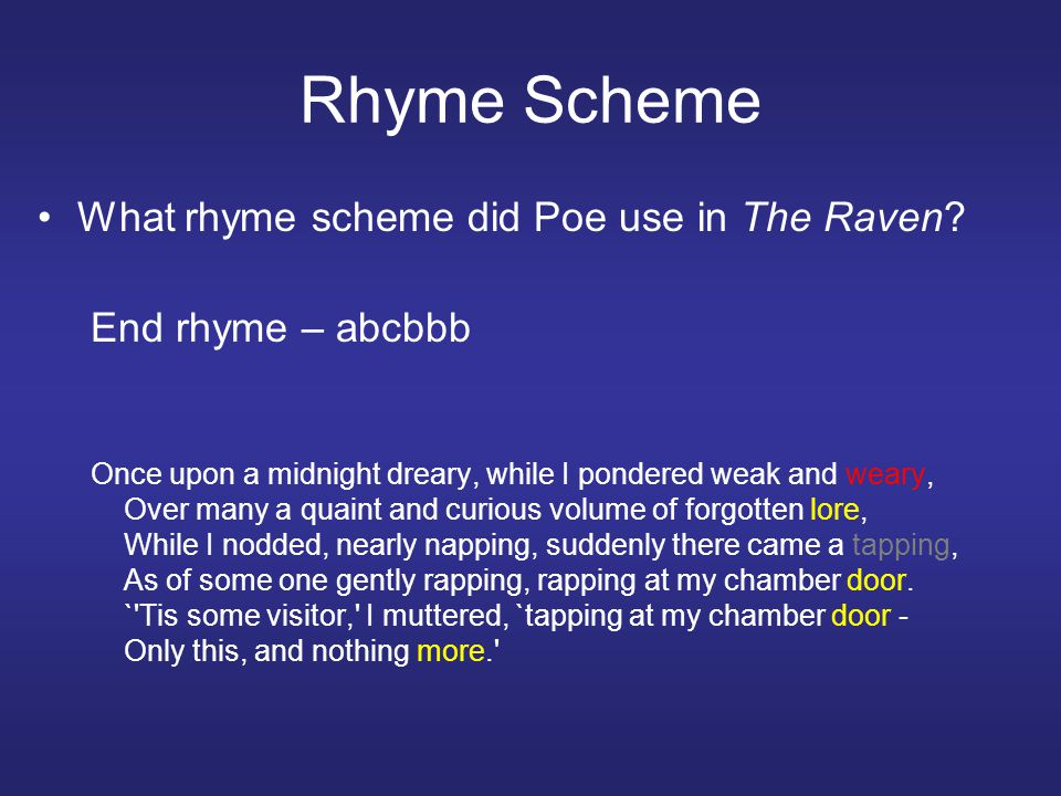 Rhyme Scheme What rhyme scheme did Poe use in The Raven.