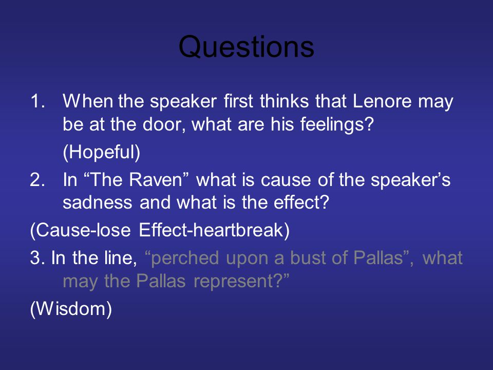 Questions 1.When the speaker first thinks that Lenore may be at the door, what are his feelings.