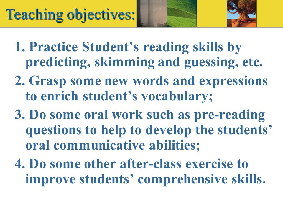 Teaching objectives: 1.