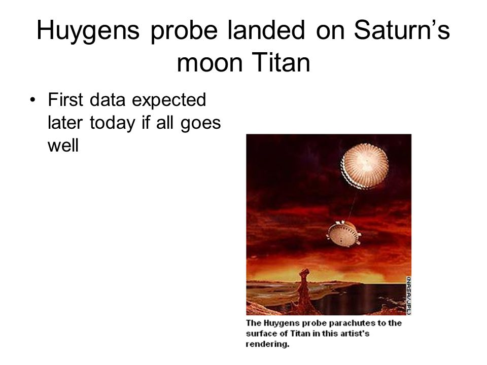 Huygens probe landed on Saturn's moon Titan First data expected later today if all goes well