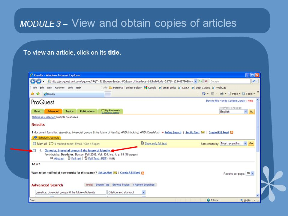 MODULE 3 – View and obtain copies of articles To view an article, click on its title.