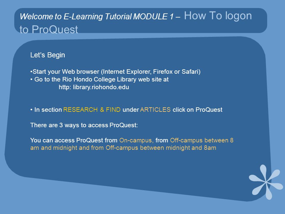In MODULE 2 you will learn how to do a Basic Search in ProQuest On the results page ProQuest offers you Suggested Topics as an alternative for your search.