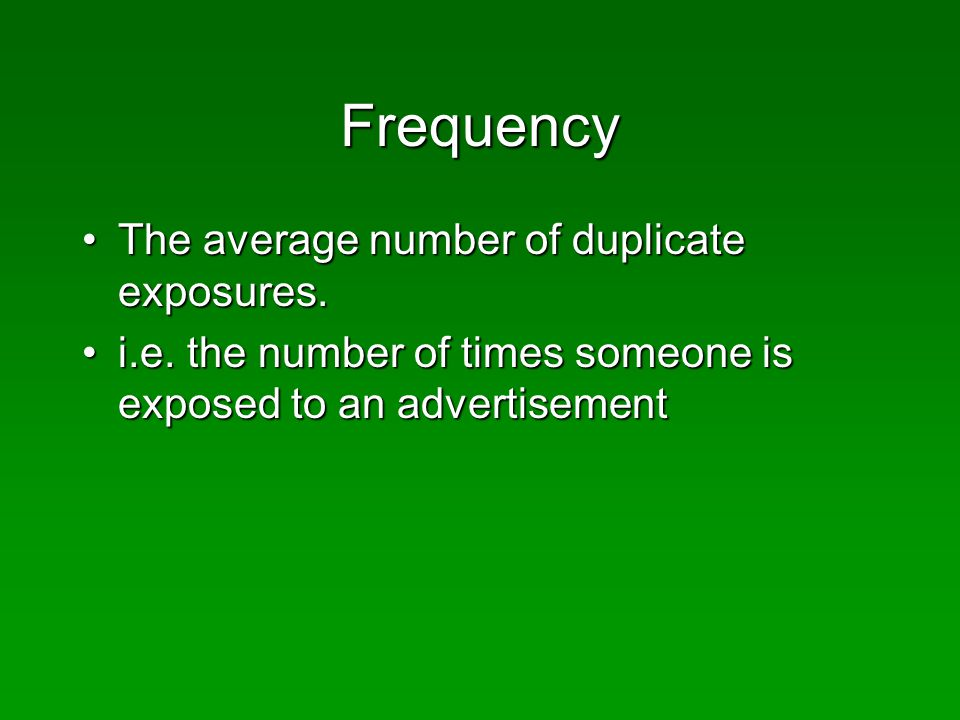Frequency The average number of duplicate exposures.The average number of duplicate exposures.