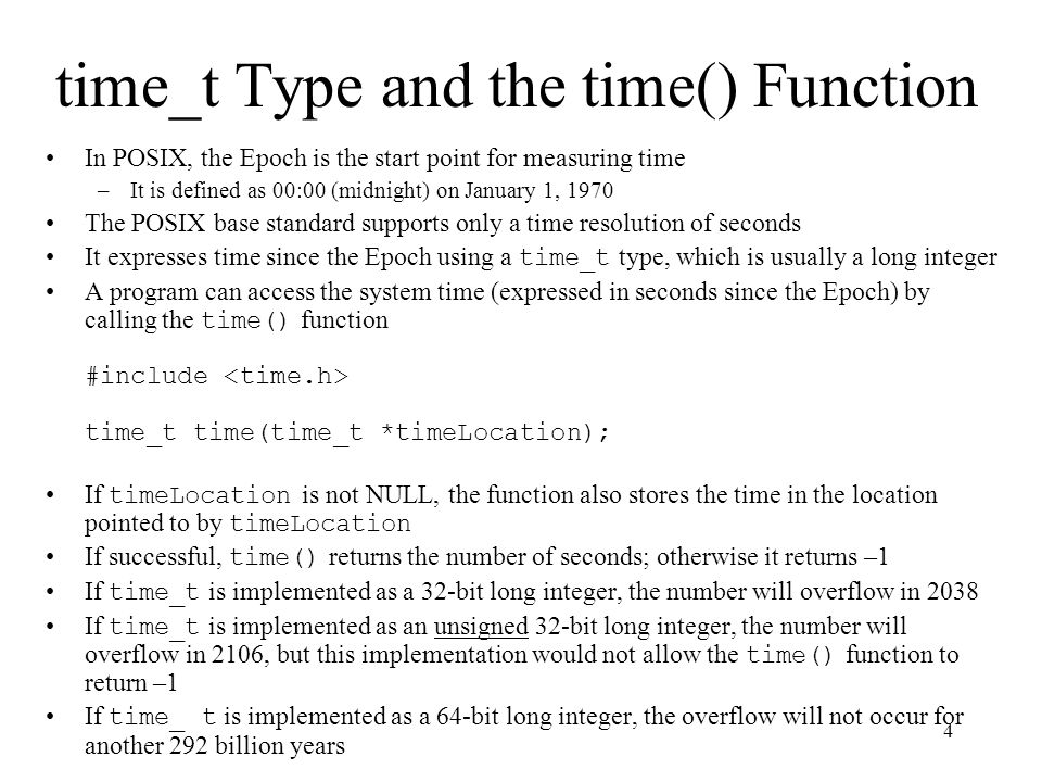 5 difftime() Function The difftime() function computes the difference between two time values of type time_t #include double difftime(time_t timeA, time_t timeB); The timeB parameter is subtracted from the timeA parameter (i.e., A – B) The time resolution for time_t is one second, which may not be accurate enough for some calculations The program shown on the next two slides calculates the wall-clock (i.e., elapsed) time for a person to answer an addition problem