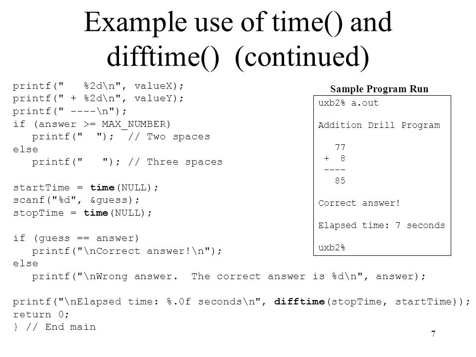 18 sleep() Function A process that voluntarily blocks for a specified time is said to sleep The sleep() function causes the calling thread to be suspended either until the specified number of seconds has elapsed or until the calling thread catches a signal #include unsigned int sleep(unsigned int seconds); In some implementations, the function returns 0 if the requested time has elapsed; otherwise, it returns the amount of unslept time if interrupted The function interacts with SIGALRM, so the programmer should avoid using them concurrently in the same process