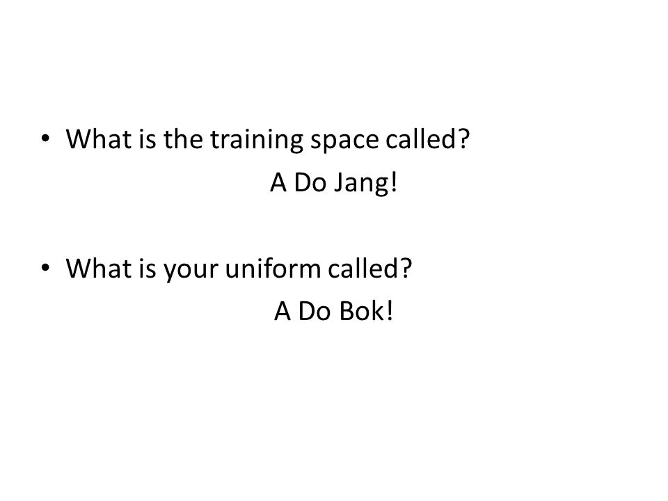 What is the training space called? A Do Jang! What is your uniform called? A Do Bok!
