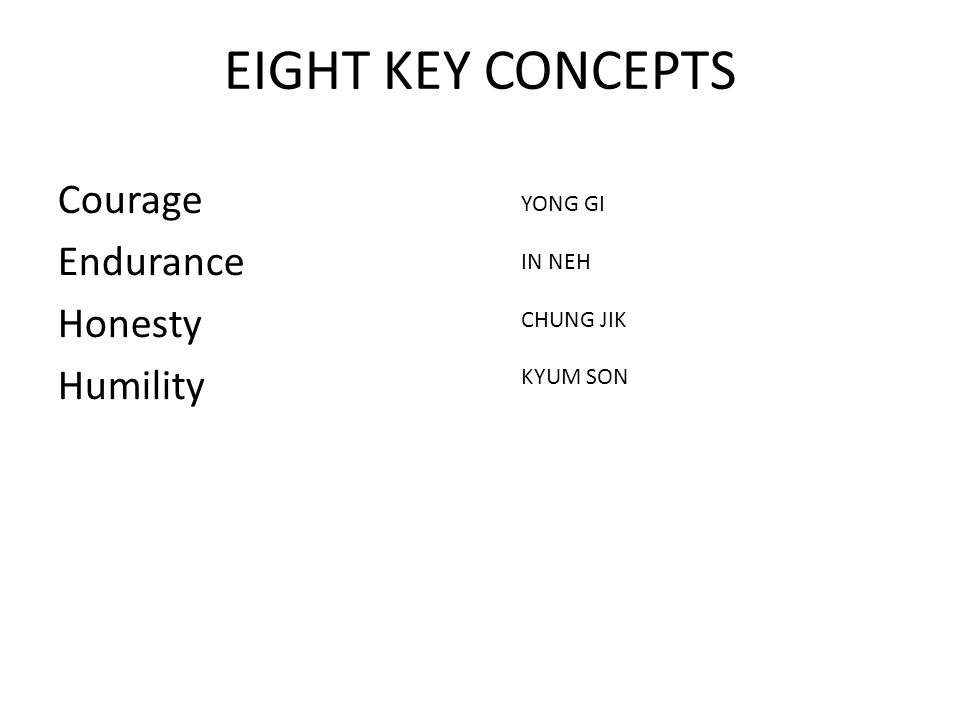 EIGHT KEY CONCEPTS Courage Endurance Honesty Humility YONG GI IN NEH CHUNG JIK KYUM SON
