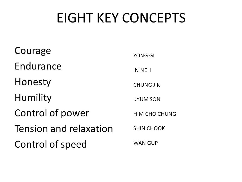 EIGHT KEY CONCEPTS Courage Endurance Honesty Humility Control of power Tension and relaxation Control of speed YONG GI IN NEH CHUNG JIK KYUM SON HIM CHO CHUNG SHIN CHOOK WAN GUP