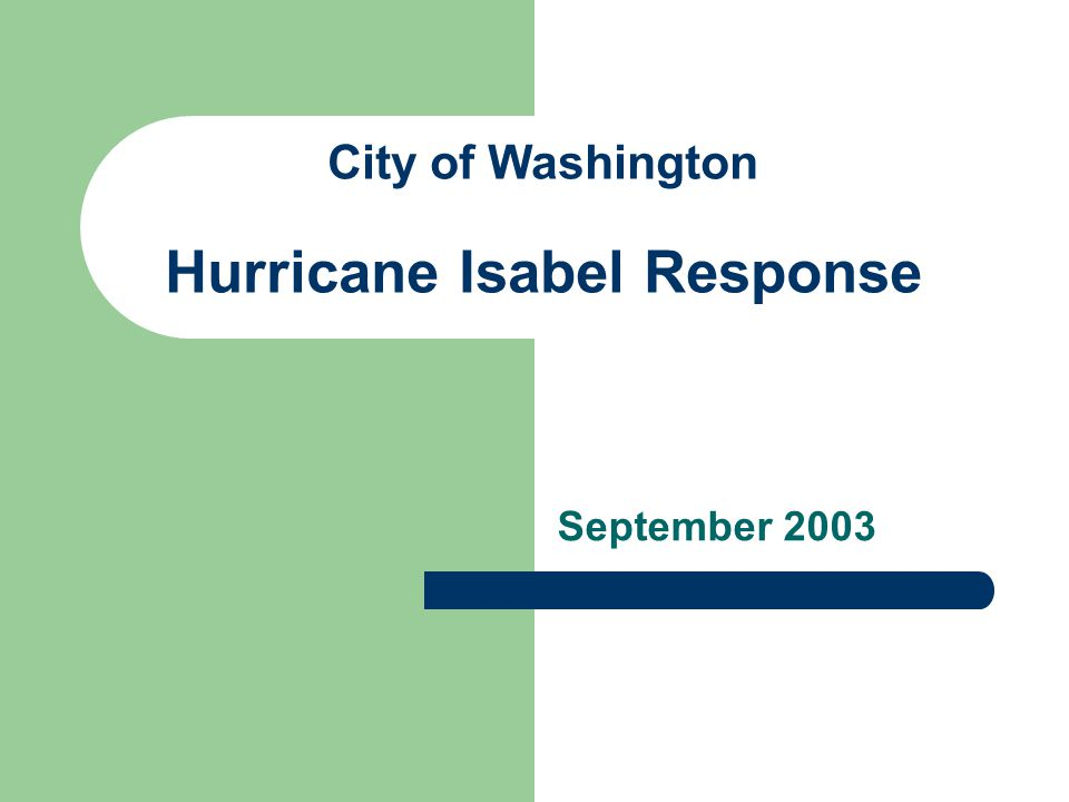 City of Washington Hurricane Isabel Response September 2003