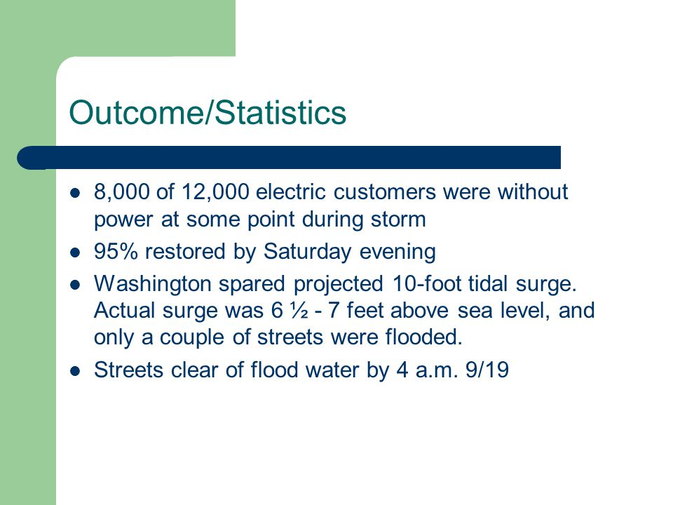 Outcome/Statistics 8,000 of 12,000 electric customers were without power at some point during storm 95% restored by Saturday evening Washington spared projected 10-foot tidal surge.