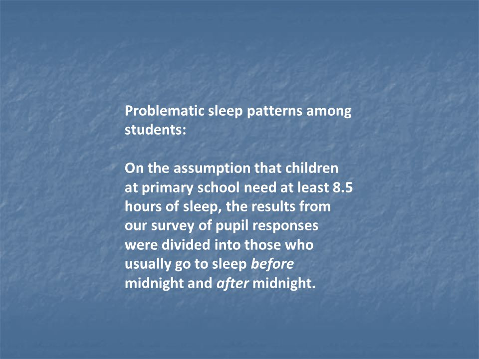 Problematic sleep patterns among students: On the assumption that children at primary school need at least 8.5 hours of sleep, the results from our survey of pupil responses were divided into those who usually go to sleep before midnight and after midnight.