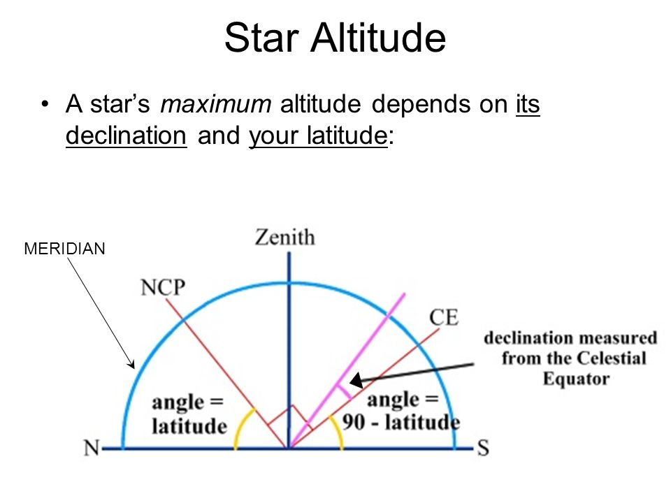A star's maximum altitude depends on its declination and your latitude: Star Altitude MERIDIAN